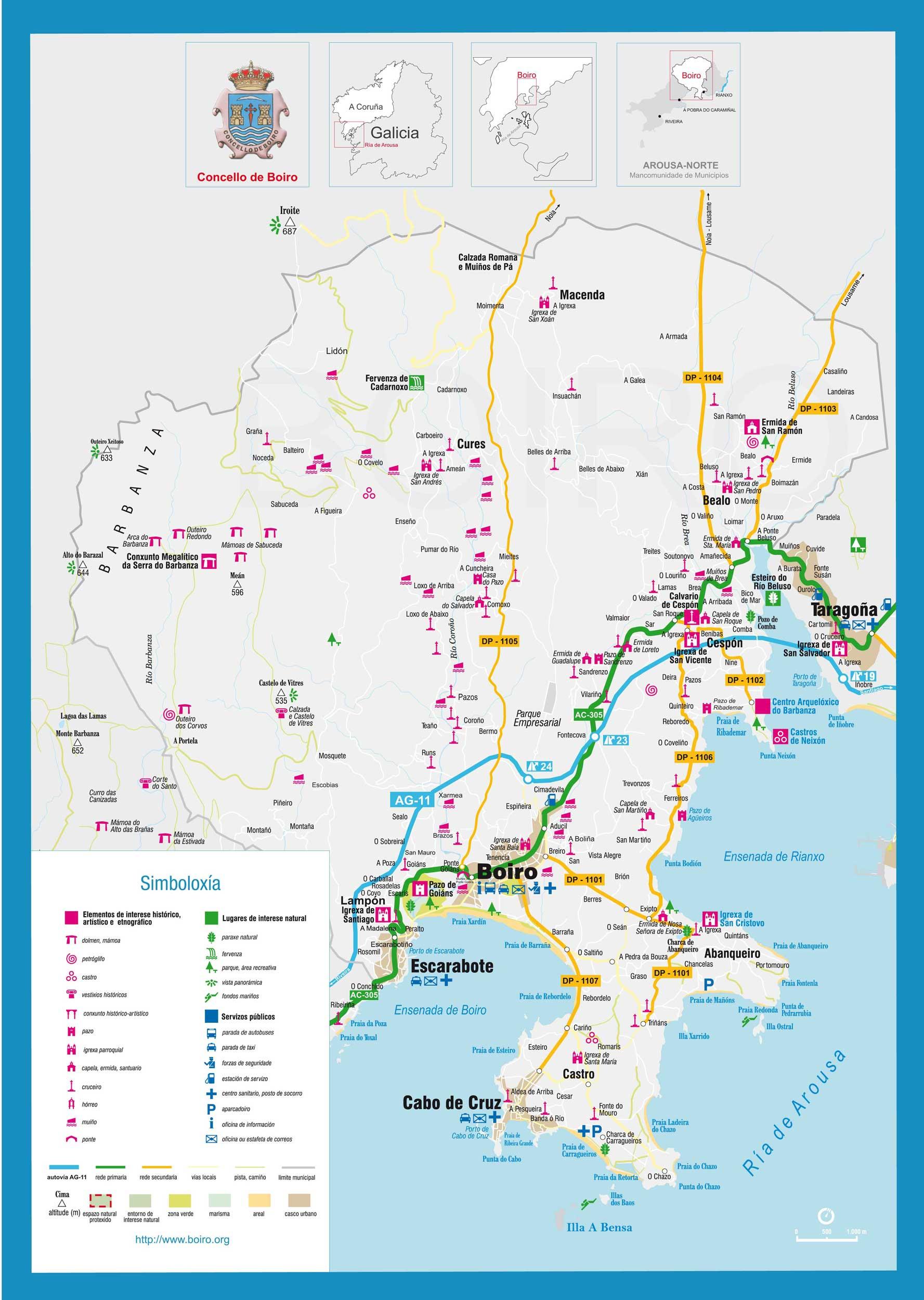 Concello De Boiro Mapa De Turistico De Boiro
